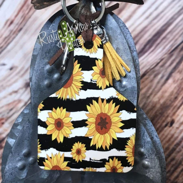 Black and White Stripe with Sunflowers Livestock Ear Tag Key Chain