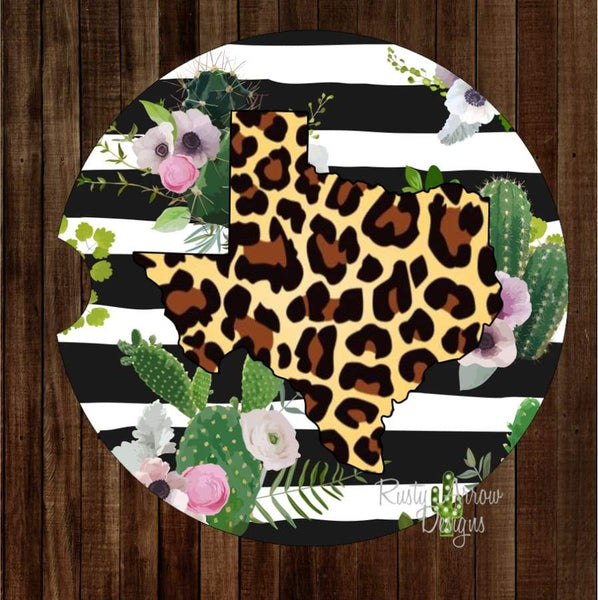 Black and White striped Cheetah Texas Set of 2 Car Coasters - Car Coasters