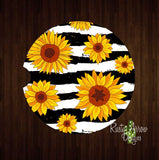 Black and White striped Sunflowers Set of 2 Car Coasters - Car Coasters