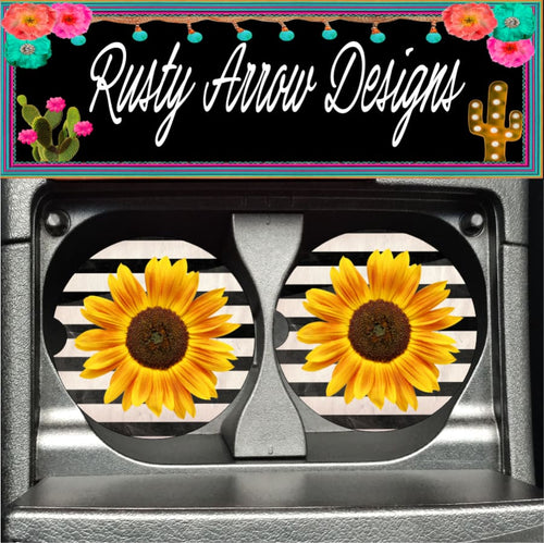 Black and White Sunflower Set of 2 Car Coasters - Car Coasters