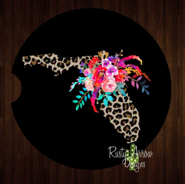 Black Cheetah Florida Set of 2 Car Coasters - Car Coasters