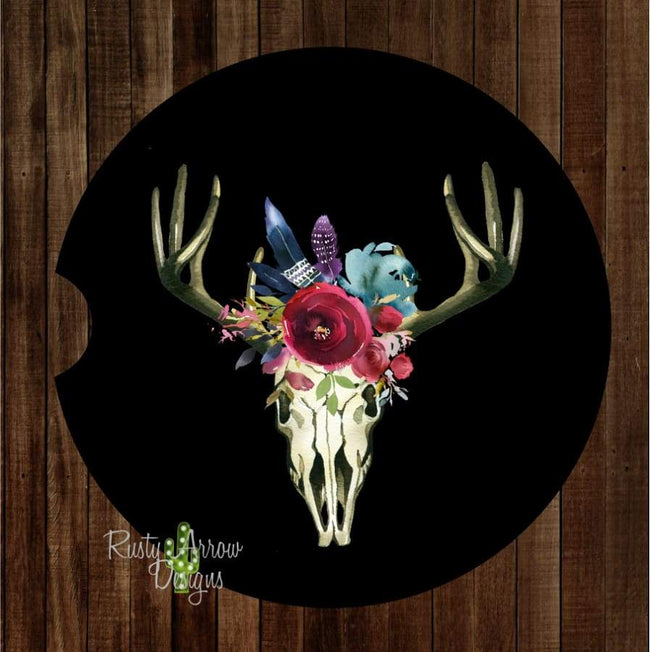 Black Deer Skull Set of 2 Car Coasters - Car Coasters