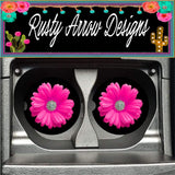Black Hot Pink Daisy Set of 2 Car Coasters - Car Coasters