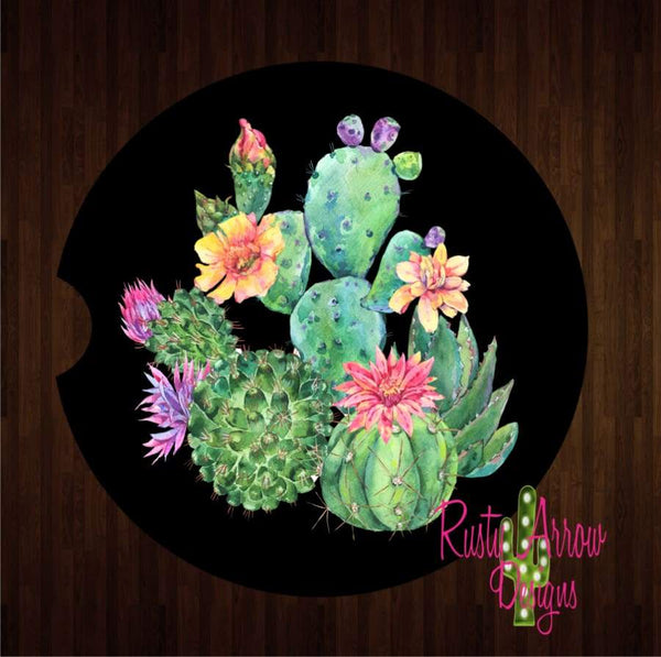 Black Neon Cactus Set of 2 Car Coasters - Car Coasters