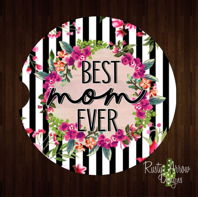 Black Stripe Best Mom Ever Set of 2 Car Coasters - Car Coasters