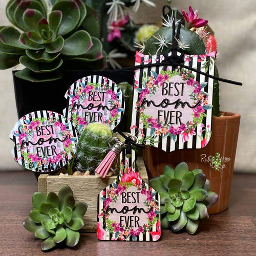 Black Stripe Floral Best Mom Car Accessory Sets