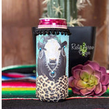 Blinged out Cow Pom Pom Trim Bottle or Can Slim Koozie - Koozie