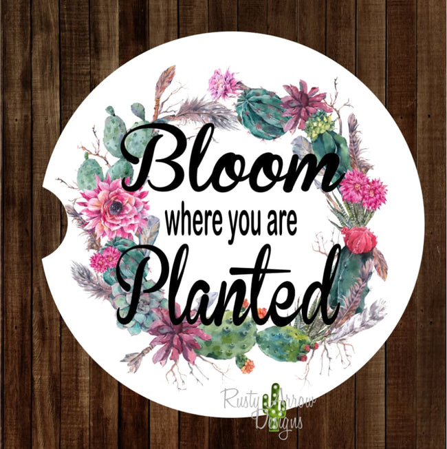 Bloom where you are planted Set of 2 Car Coasters - Car Coasters