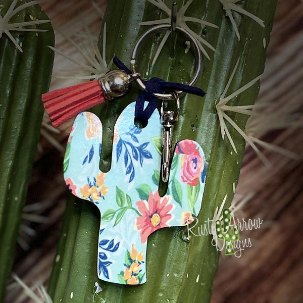 Blue and Pink Boho Flowers Cactus Key Chain