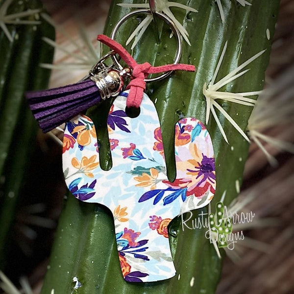 Blue and Purple Boho Flowers Cactus Key Chain