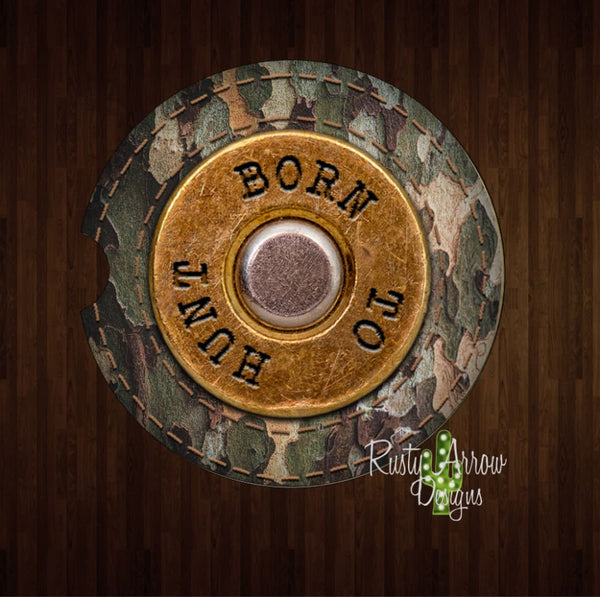 Born to Hunt Set of 2 Car Coasters - Car Coasters