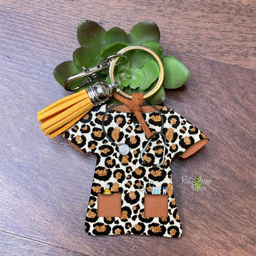 Brown Cheetah Nurse Scrub Key chain
