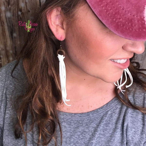 Buckskin Leather Tassel Earrings
