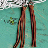 Buckskin Leather Tassel Earrings - Brown