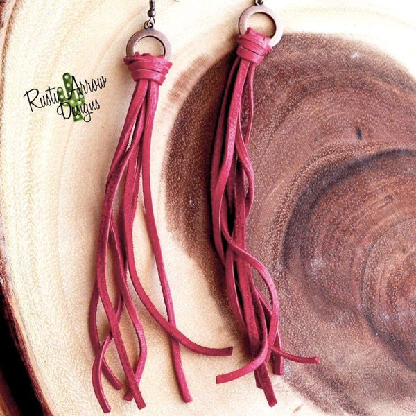 Buckskin Leather Tassel Earrings - Red