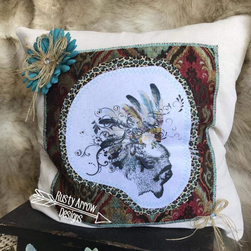 Buffalo Headdress Pillow - pillows