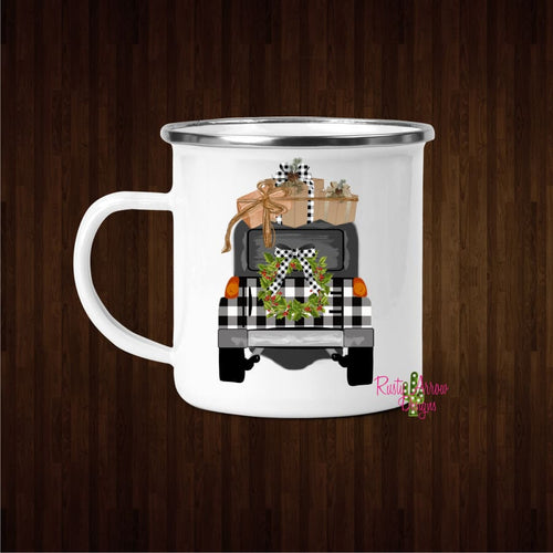 Buffalo Plaid Jeep 11oz Metal Camp Mug - Mug