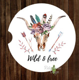 Bull Skull with Feathers and Arrows Wild and Free Set of 2 Car Coasters - Car Coasters