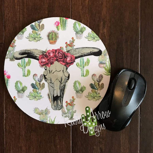 Cactus and Cowskull 8 Neoprene Round Mouse Pad - Mouse Pad