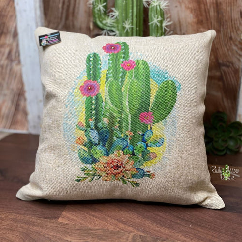 Cactus and Flowers Pillow Cover - Pillow