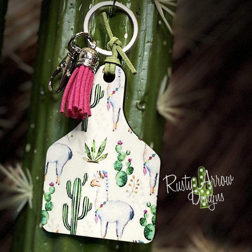 Cactus and Llamas Livestock Ear Tag Key Chain