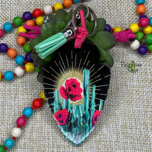 Cactus and Roses Arrow Head Key Chain - Key Chain