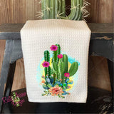 Cactus and Roses Waffle Weave Tea Towel