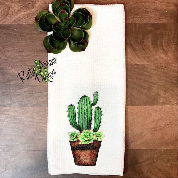 Cactus and Succulents in Terra Cotta Pot Waffle Weave Tea Towel