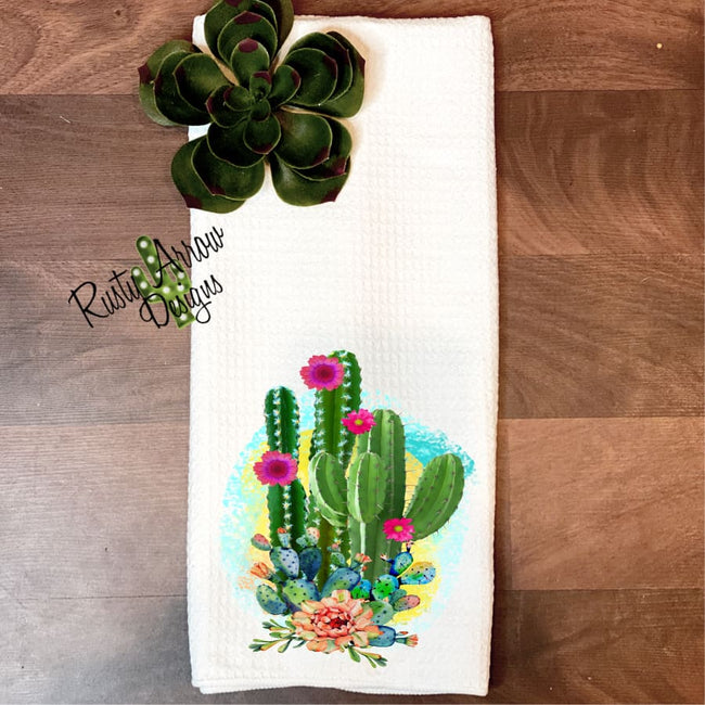 Cactus and Succulents Waffle Weave Tea Towel