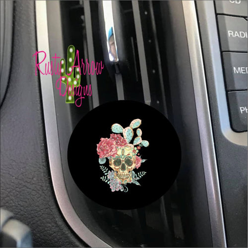 Cactus and Sugar Skull Car Vent Clip