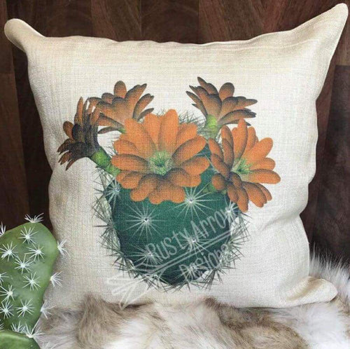 Cactus with Orange Daisies Decorative Throw Pillow - Pillow