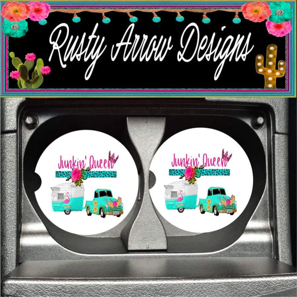 Camper Junkin Queen Set of 2 Car Coasters - Car Coasters