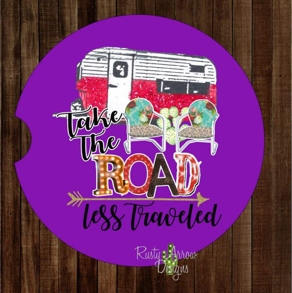 Camper Take the Road Less Traveled Set of 2 Car Coasters - Car Coasters