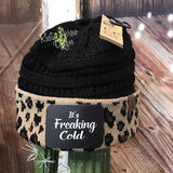 CC Ponytail Black and Cheetah Beanie with Patch - Its Freaking Cold
