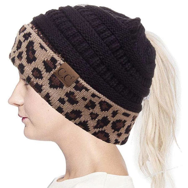 CC Ponytail Black and Cheetah Beanie with Patch - No Patch