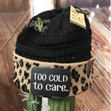 CC Ponytail Black and Cheetah Beanie with Patch - Too Cold to Care