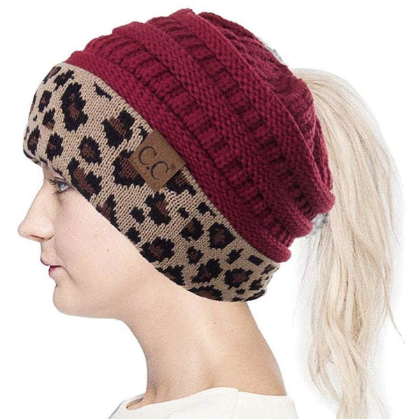 CC Ponytail Burgundy and Cheetah Beanie with Patch