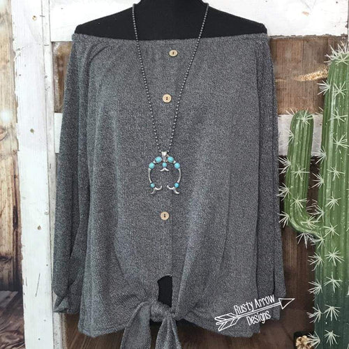 Charcoal Gray Button front off the shoulders top - Tee Shirt
