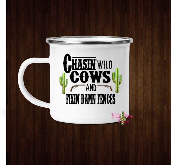 Chasin wild Cows Coffee Mug - 11 oz. Camp Cup Mug Stainless Steel - Mug