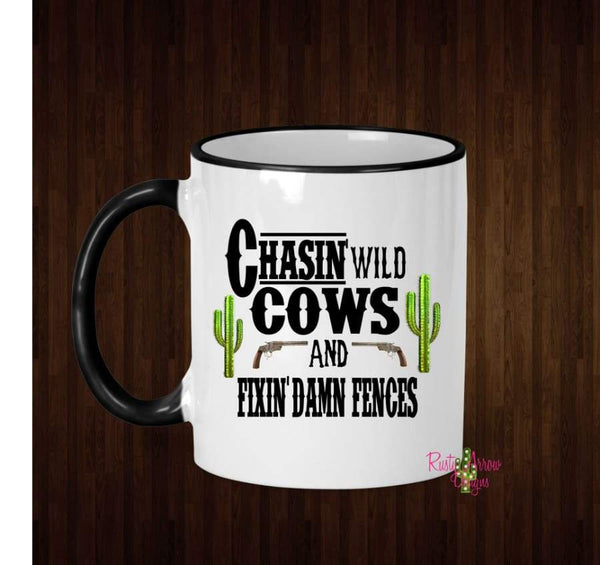 Chasin wild Cows Coffee Mug - 11 Oz Ceramic mug with black handle - Mug