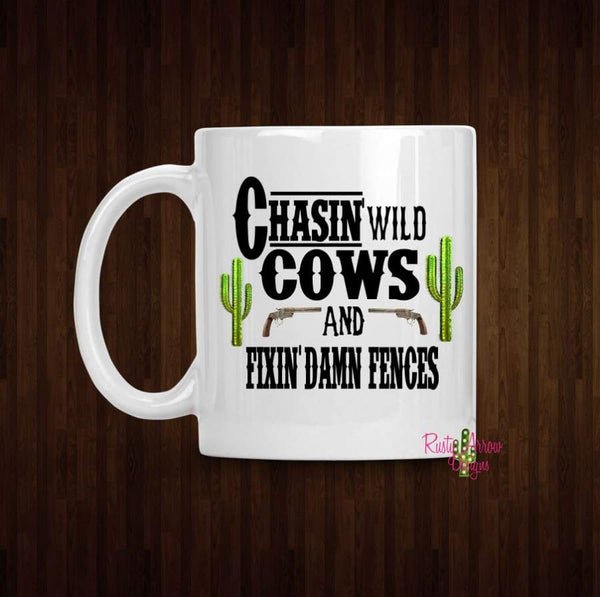Chasin wild Cows Coffee Mug - 11 oz White Ceramic - Mug