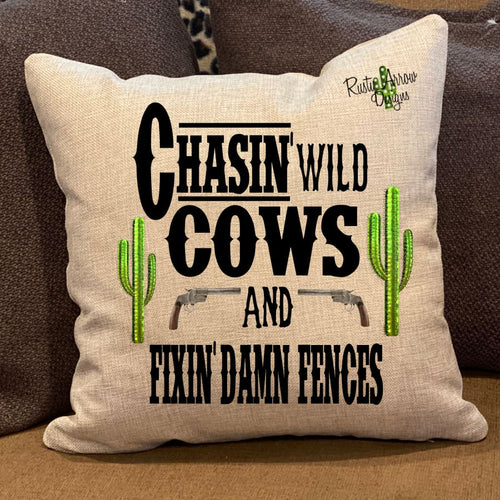 Chasin' Wild Cows Pillow Cover - Pillow