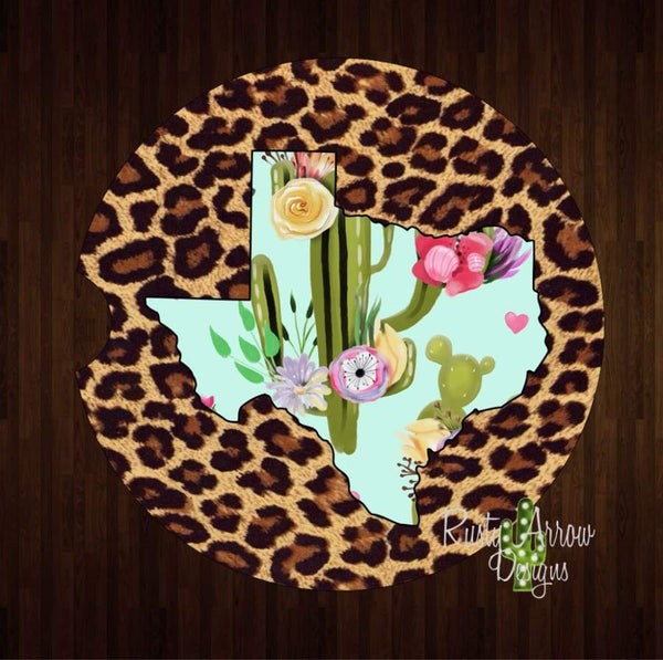 Cheetah and Cactus Texas Set of 2 Car Coasters - Car Coasters