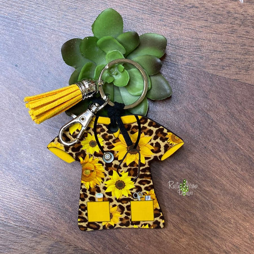 Cheetah and Sunflowers Nurse Scrub Key chain