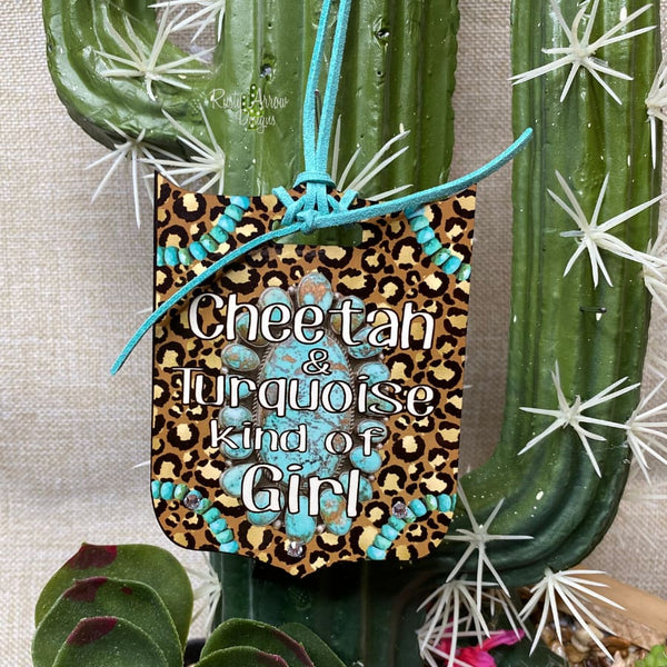 Cheetah and Turquoise Girl Rear View Mirror Charm Bag Tag or Christmas Ornament