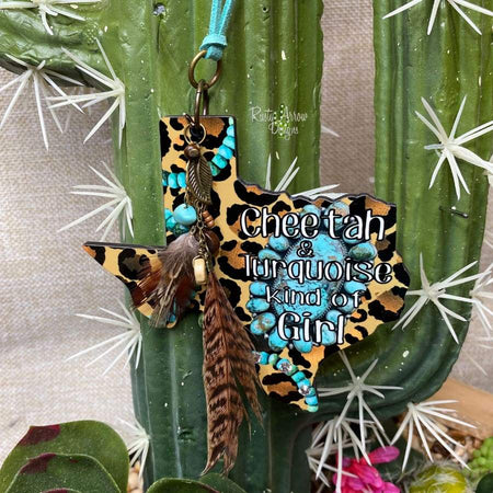 Cheetah and Turquoise Girl Rear View Mirror Charm, Bag Tag, or Christmas Ornament