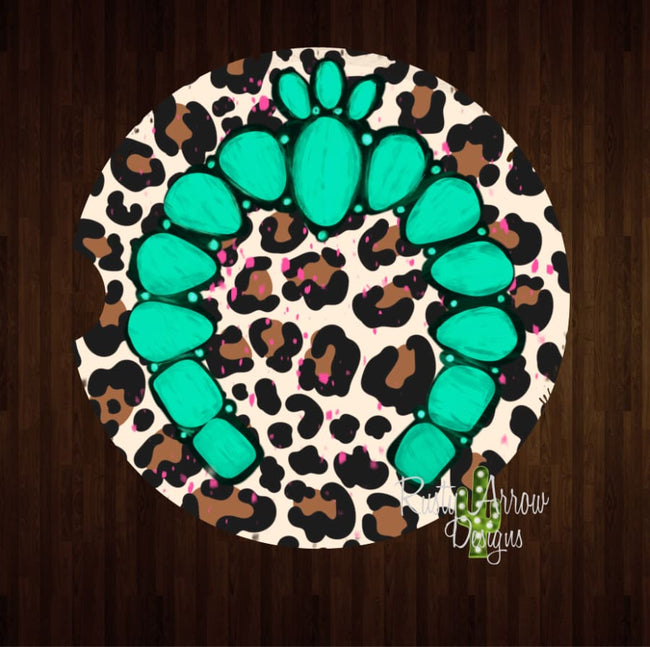 Cheetah and Turquoise Squash Set of 2 Car Coasters - Car Coasters