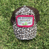 Cheetah Blessed Mom Trucker Hat
