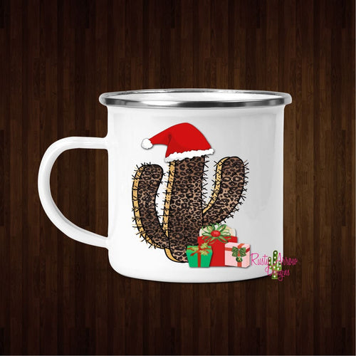 Cheetah Cactus 11oz Metal Camp Coffee Mug - Mug