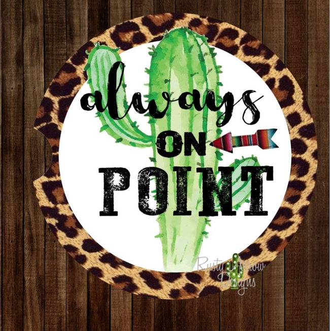Cheetah Cactus Always on Point Set of 2 Car Coasters - Car Coasters